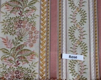 FABRIC Lisere Rose Stripe Fabric, Luxure woven Jacquard, For Upholstery, Bedding, Drapery, Wallcovering,