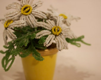 French Limoges Cachmpot (Yellow Porcelain Pot) with Beaded Daisies and Greens, Handmade