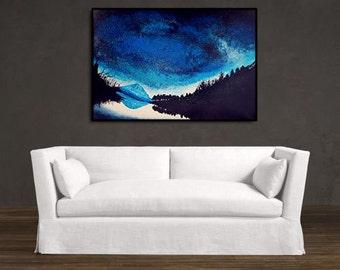 ORIGINAL acrylic painting on Canvas < galaxy & night forest 3 >