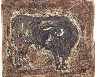 Toro [17-2003] - drawing, mixed technique