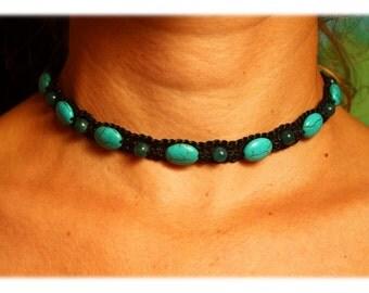 Turquoise Beaded Macrame Choker Necklace (black)