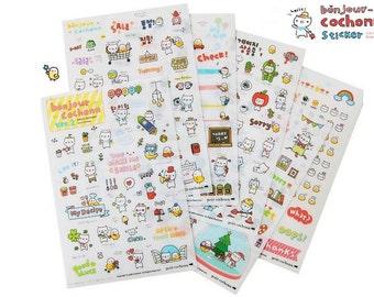 Cute French Bonjour Cochonn Korean Cartoon Diary Deco Stickers, 6 Sheets