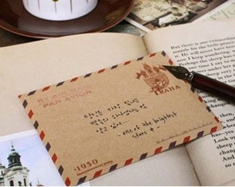 10pcs Mini Kraft Airmail Vintage Envelopes PRAGUE