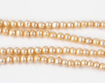 1207_Peach gold pearls 5 mm, Peachy pearls, Natural pearls, Round potato pearls, Freshwater pearls, Pearls, Cultivated pearls, For jewelry.