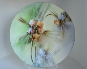 """French handpainted Pine cone plate. 9"""" makers mark J.P.L. France"""