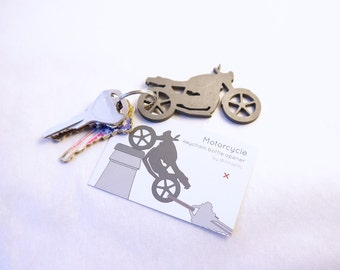 Motorcycle keychain bottle opener