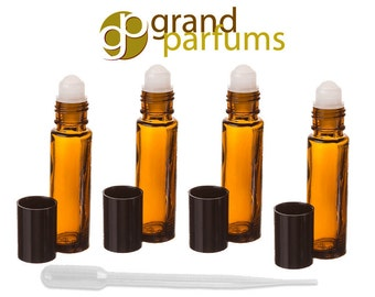 Amber Glass 10ml Roll On Bottles for Travel, Purse, Pocket, Aromatherapy, Essential Oils, Perfumes and Lip Gloss - Choose Quantity