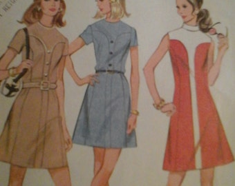 McCall's 2357 Vintage 1970 Sewing Pattern Misses' Dress in Three Versions, Size 10