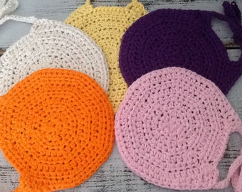 Five Crocheted Baby Bibs - FREE SHIPPING