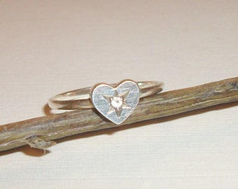 Vintage Silver Ring ,Rhinestone Ring, Silver Heart Ring, Crystal Ring, Wedding Gift, Mother's Day Gift