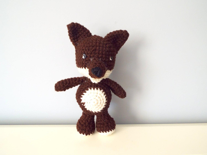 Crochet Amigurumi Wolf : Brown crochet amigurumi wolf Stuffed crochet by ...