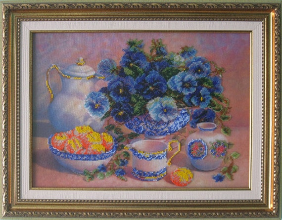 Bead embroidery on art canvas still life beads by myvitraz