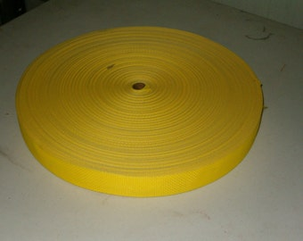 """Lightweight poly webbing 1 1/2"""" width by the yard yellow"""
