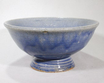 Light blue large footed stoneware bowl
