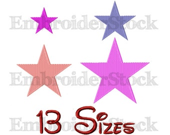 Star Machine Embroidery Star Embroidery Design Stars Pattern-13 Sizes Not Applique File