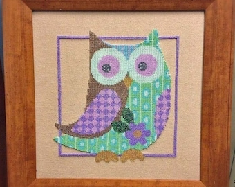 Patchwork Owl - picture (embroidery) beads