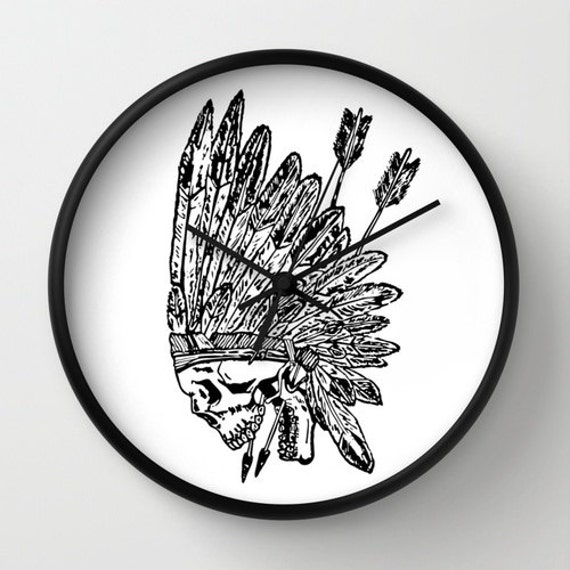 articles similaires t te de cr ne de chef indien d 39 am rique 10 horloge murale d coration. Black Bedroom Furniture Sets. Home Design Ideas