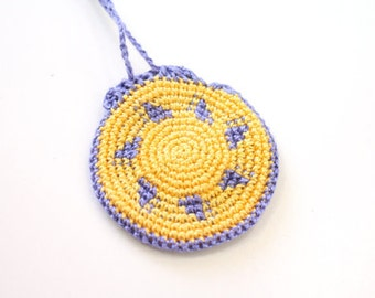 Crochet Drawstring Jewelry Holder, yellow sun with lilac geometric pattern, festival neck pouch, mini necklace purse, totem saver, round bag