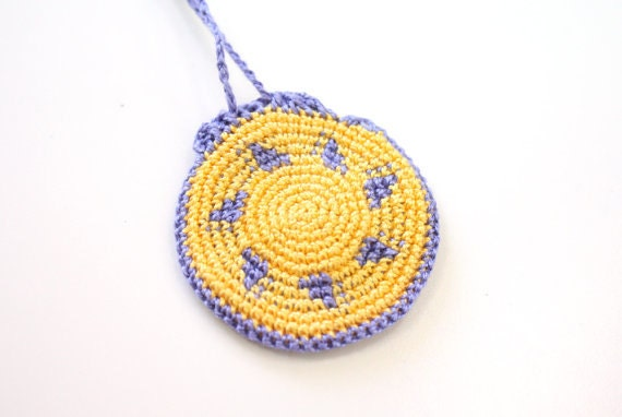 Crochet Round Pouch : ... , festival neck pouch, mini necklace purse, totem saver, round bag