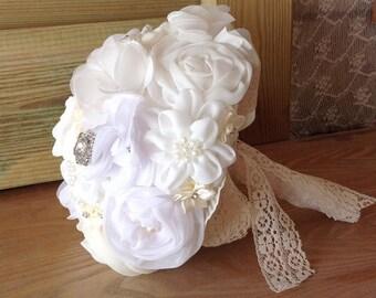 White Bridal Bouquet - Silk Wedding Bouquet - Silk Bridal Bouquet - Silk Bouquet - Fabric Bouquet - Wedding Accessories