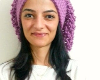 Hand Knit Beanie Womens Hat