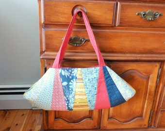 Quilted Dresden Purse - Teals, Reds and yellows