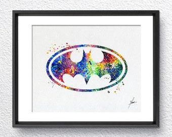 Batman, Classic Logo, Watercolor Print, Super Heroe, Wall decor, Wall Hanging, Gift, Item 008