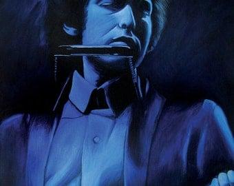 Blue Dylan. Bob Dylan- blue monochrome. print
