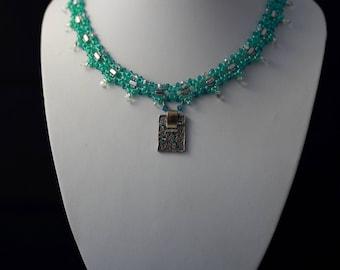 Silver Green Swarovski  Pedant Beadweaving Necklace