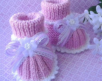 Baby Girl Booties | Pink Baby Girl Booties | Hand Knit Baby Girl Booties | Infant Booties | Baby Girl Shoes | Baby Girl Slippers