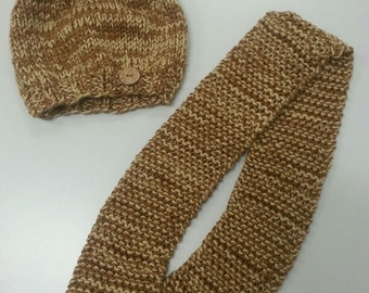 Hand Knitted Infinity Scarf and Hat Set
