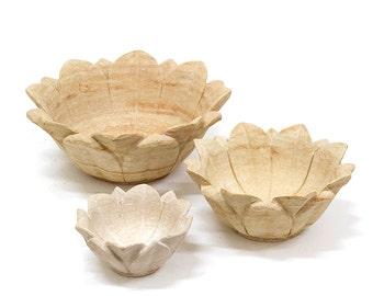 Set of 3 handcarved Sandstone Lotus Bowls.