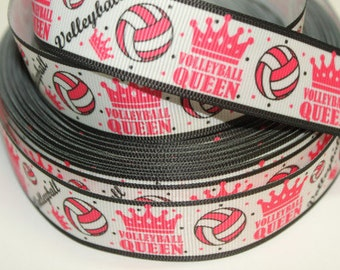 1 inch VolleyBall Queen on White with Pink Sports Printed Grosgrain Ribbon for Hair Bow