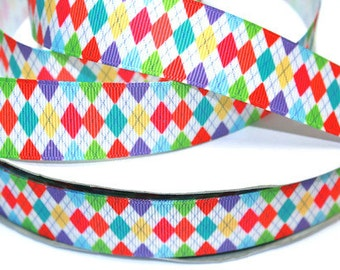 1 inch Colorful Argyle - (NEWEST DESIGN) - Printed Grosgrain Ribbon for Hair Bow