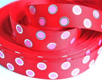 1 inch Pink Dots / Silver Outline on Red - Printed Grosgrain Ribbon for Hair Bow