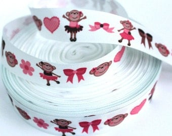 1 inch Cutie Ballet Monkey on White - Printed Grosgrain Ribbon for Hair Bow