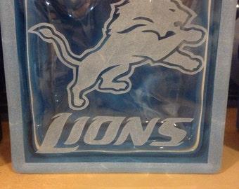 Detroit lions glass block