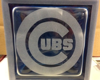Chicago cubs glass block
