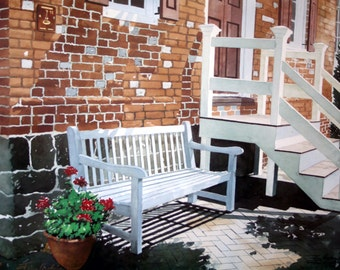 Chesapeake Bench-signed, limited edition reproduction from an original watercolor, by the artist.
