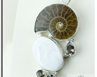 AMMONITE FOSSIL MOTHER of Pearl Shell 925 Solid Sterling Silver Pendant + Free Worldwide Shipping P1928