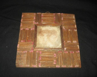 Vintage Prison Art School Arts And Crafts Mathstick Picture Frame/Craft Project Matchstick Picture Frame