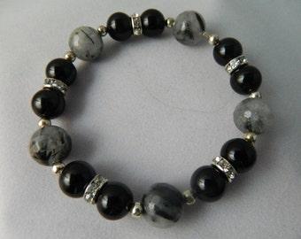 Black Onyx with Tourmaline Quartz Beaded Bracelet