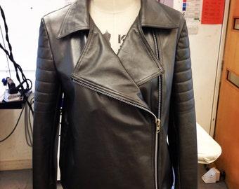 Urban Favela -  Women's Leather Jacket - Frances Sparkes - Mercury Metallic - Lamb Nappa