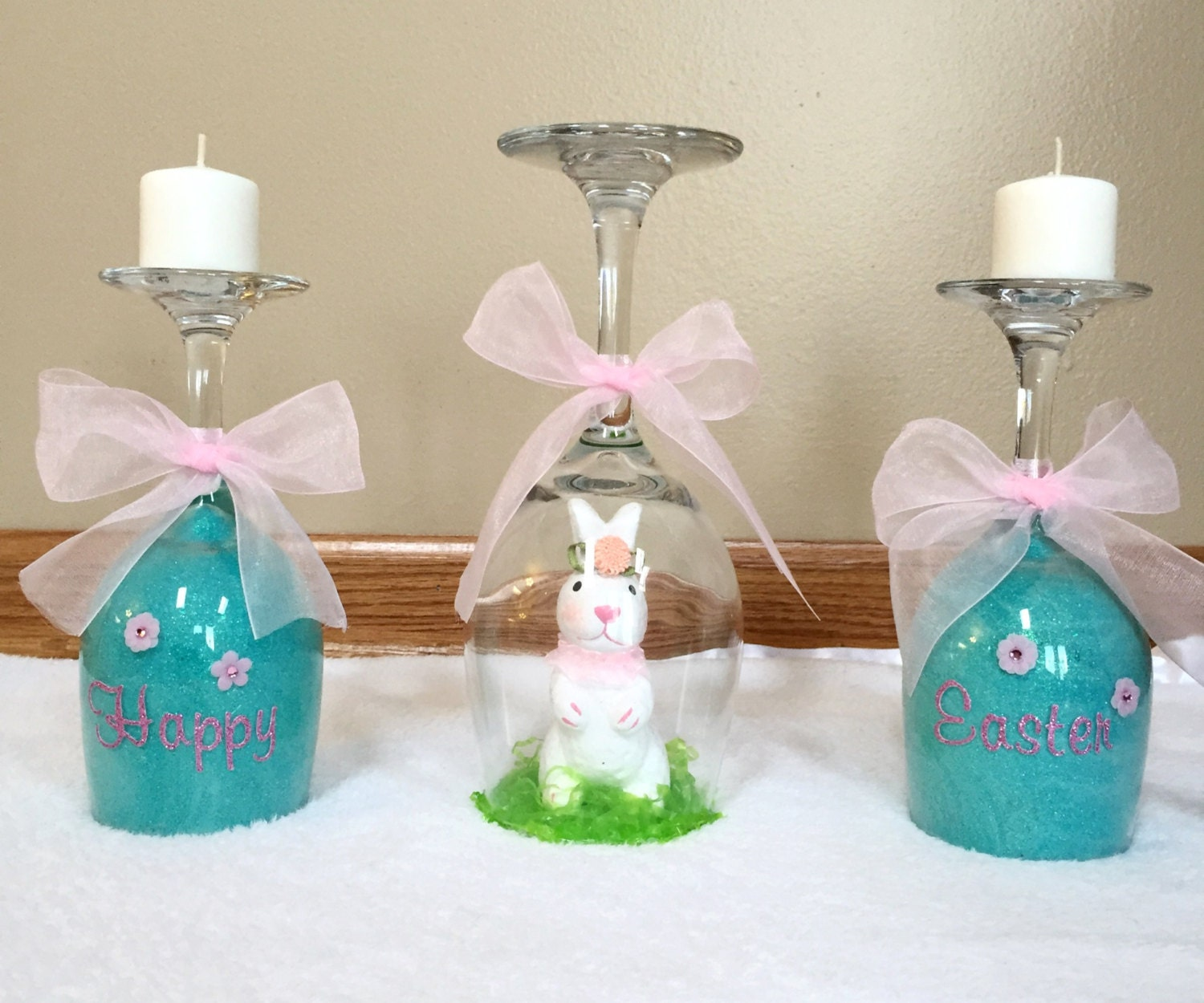 Easter wine glass candle holder table by bienzcraftboutique