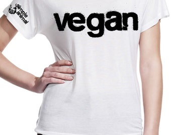 Organic t shirt: 'Vegan', bat wing style