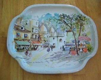 Vintage Tray by The Metal Manufacturing Company Limited in London, England. Metal tray with Paris Scene. Decorative metal tray.