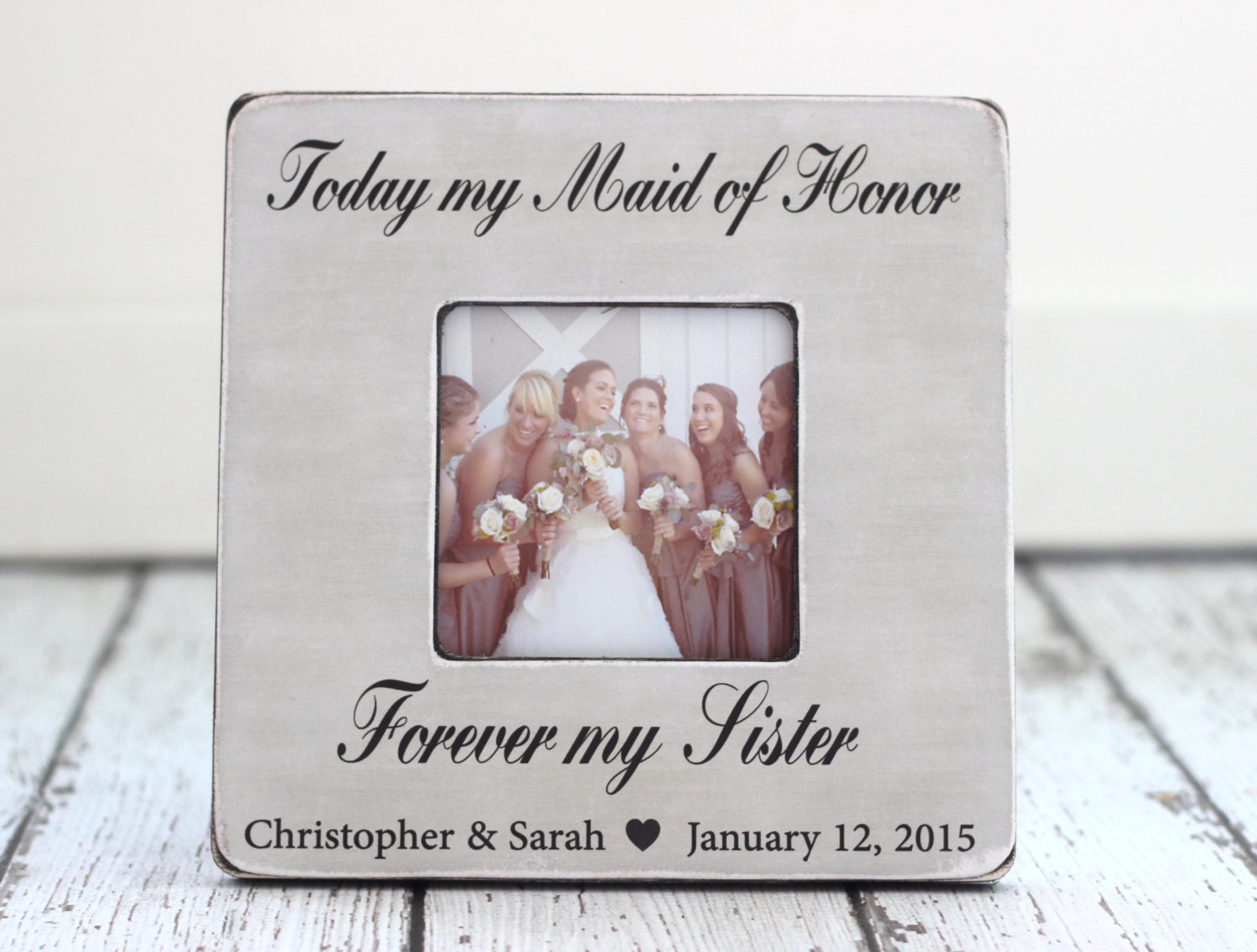 Maid Of Honor Sister Personalized Picture Frame Wedding Thank