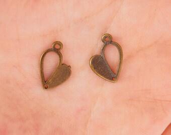 30pcs 11*5mm Antique Bronze Heart Drop Pendant,Tiny Heart Drop