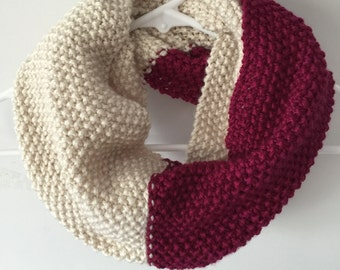Hand Knit Infinity Scarf - Cream/Berry