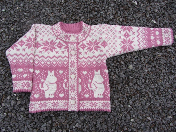 Moomin Knitting Pattern : Wool knitted cardigan with moomin pattern for by daysiknits